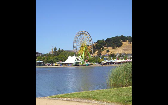 A ferris wheel near a lake