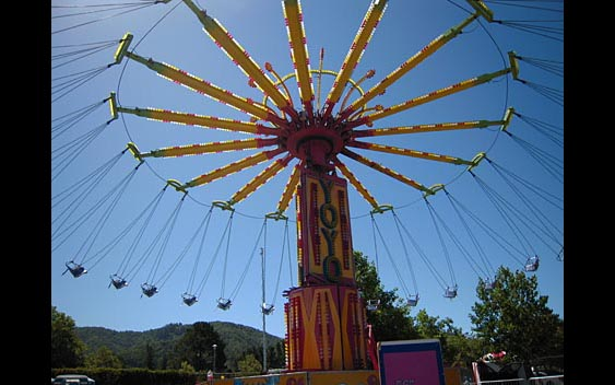 A carnival ride with swings