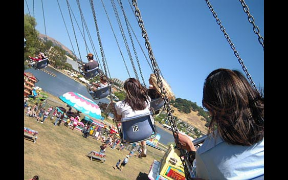 The swing ride from the perspective of a rider