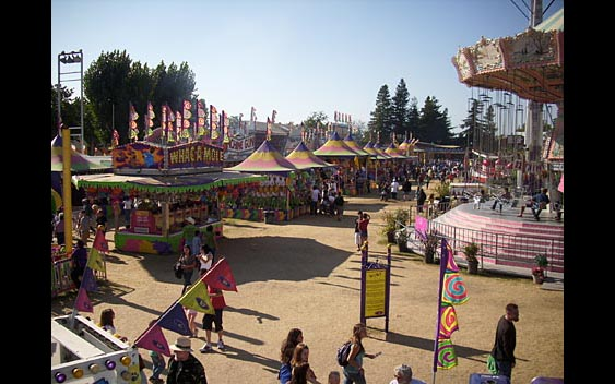 A view of the rides and midway games