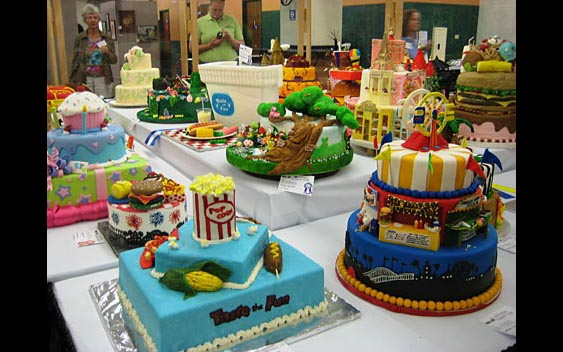 Decorated cakes on display to be judged