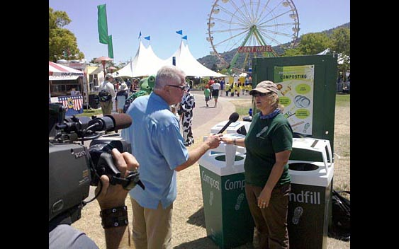 "Huell Howser learns about how the fair is ""going green."" Marin County Fair & Exposition, San Rafael"