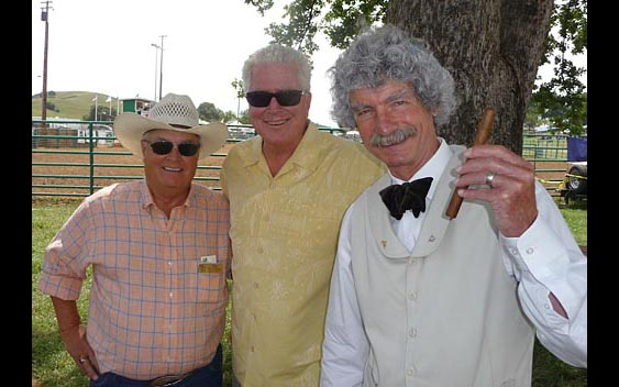 Fair CEO Ray Malerbi, Huell Howser, and special guest Mark Twain enjoy the Frog Jump. Calaveras County Fair & Jumping Frog Jubilee, Angels Camp