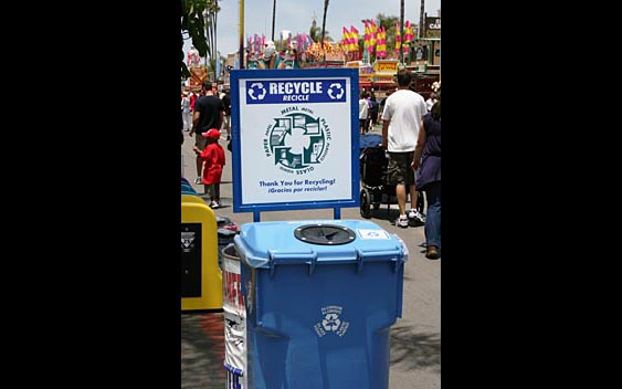 One of many plentiful and clearly marked recycling bins. San Diego County Fair, Del Mar