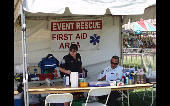 First Aid station with trained personnel ready to help. The Valley Fair, Sherman Oaks